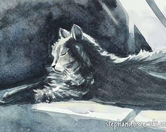 Cat Watercolor Pet Portrait Painting - Custom - Pet Lover Gift