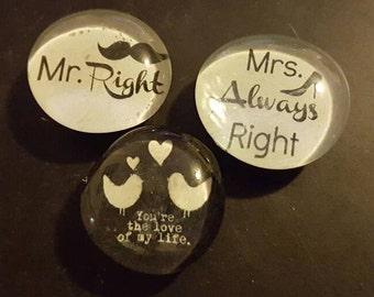 Set of 3 strong, relationship, love, engagement, wedding, bridal shower, glass magnets, quality magnets, refrigerator magnets, kitchen decor