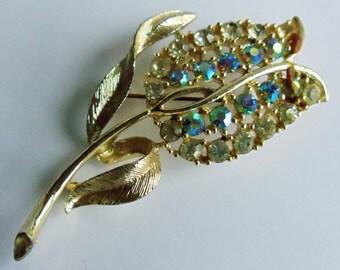 Vintage Rhinestone Tulip Flower Brooch, Silver Tone Brooch Pin, Rhinestone Pin, Estate Jewelry, Flower Brooch, Floral Jewelry,1950's Jewelry