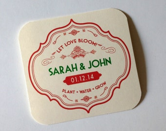 Seed Paper Favors-25 vintage style seed paper personalized favors - Plantable seed paper favor for wedding, baby and bridal shower or tags