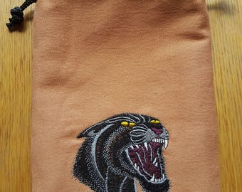 Drawstring Bag, Dice Bag, Gift Bag, Pipe Bag, Pouch, Black Panther Bag, Jewelry Bag, E-reader Bag. 18 by 24 cm (7 by 9.4 inch)