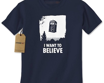I Want To Believe Dr. Who Flying Tardis Mens T-shirt