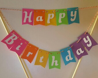 "Cake Bunting, ""Trolls"", Happy Birthday, Cake Topper, Paper banner"