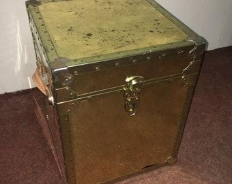 Distressed Brass Storage Crate