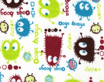 Earth Ooga Booga, Cotton Interlock Knit Fabric, Flawed remnant 8 inches