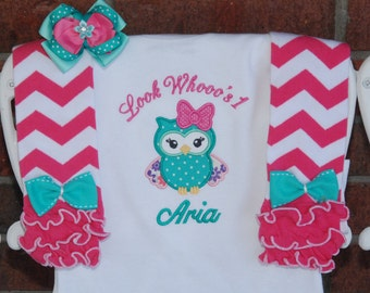 Baby Girl Owl First Birthday Outfit! Baby Girl Bodysuit, Leg Warmers, and Bow Complete Outfit! Owl birthday outfit/First Birthday Outfit