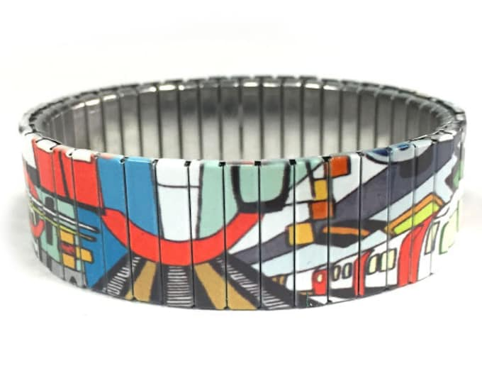 Metro Art bracelet, Subway, graffiti ,Train, Stainless Steel, watch band bracelet, Stretch, Wrist Band, Sublimation, gift for friends