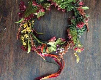 Autumn Renaissance Flower Headband With Ribbons