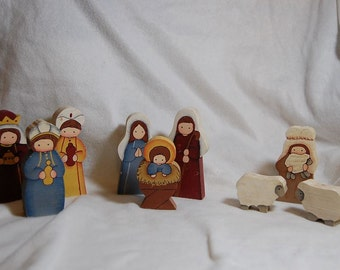 Hand Painted Wooden Nativity Set
