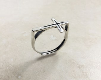 Cross ring in Sterling silver, Open adjustable ring, Silver cross ring, Adjustable Silver ring
