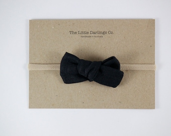 Hand Tied Hair Bow 100% Linen Small Schoolgirl in Black // Clip or Band