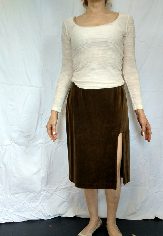 Vintage Brown Velvet Skirt by Anglomania - Vivienne Westwood 1990s Size 12