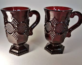 Cape Cod Ruby Red Footed Mugs with Handles Highly Decorated 1876 Commemorative of Philadelphia Centennial Glass Ware from the 70s