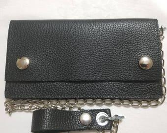 Black Leather Biker Chain Wallet