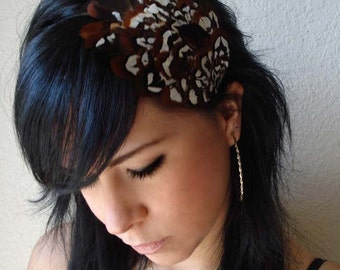 brown pheasant feather headband or hair clip - bohemian feather fascinator - boho women's gift - hair accessories for women - BERNADETTE