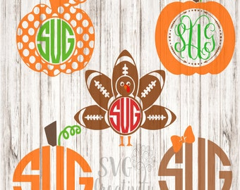 Thanksgiving Monograms SVG, Pumpkin Monograms SVG, Turkey Monograms SVG