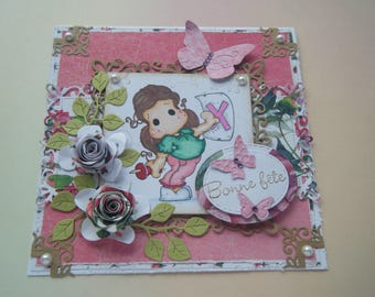 Happy birthday, pink Theme and Butterfly card