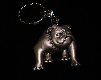 FANTASTIC bulldog keychain made of pewter VERY DETAILED
