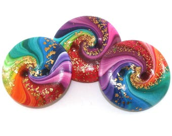 Handmade buttons, colorful swirl sewing buttons, polymer clay buttons in rainbow colors, spiral sewing buttons, 3 rainbow buttons with gold