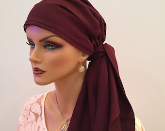 Carlee Pre-Tied Head Scarf, Women's Cancer Headwear, Chemo Scarf, Alopecia Hat, Head Wrap, Head Cover for Hair Loss - Merlot