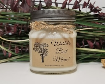 World's Best Mom Candle - 8oz Soy Candles Handmade - Personalized Candles - Birthday Gift for Mom - Mom Birthday - Mason Jar Candle