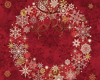 Christmas wreath panel by Northcott. Red, cranberry, Starry night