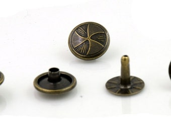 100 pcs Antique Brass Wind Turbine Rivet Stud Decor Fashion 12 mm. RV 12 25K