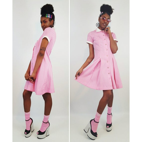 60s 70s Vintage Pastel Pink Short Sleeve Dress Small - Vtg Women's 1960's 1970's Minidress - Retro Belted Checkered Pleated Pastel Sundress
