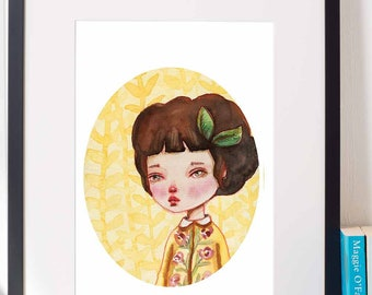 ANITA - A pop surrealist watercolor Danita painting. Available in signed posters and mounted wall art ready to hang prints