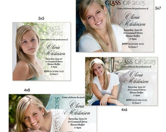Senior Girl Graduation Invitation Photoshop  Templates - FADED - (4) 1-Sided Photo Cards for Photographers & Scrapbookers (4x6,4x8,5x5,5x7).