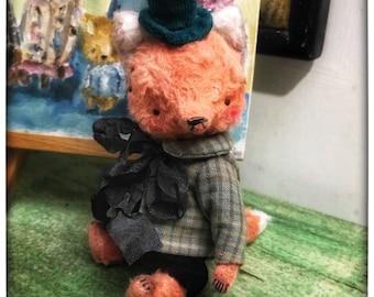 4 inch Artist Handmade Viscose Teddy Fox Thomas by Sasha Pokrass