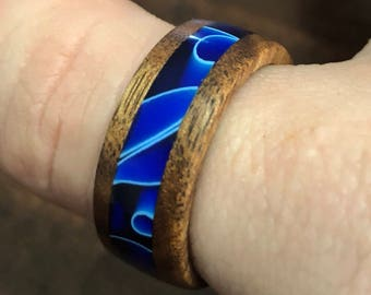 Recycled Australian Acacia Wood and Acrylic Blue Wave Ring