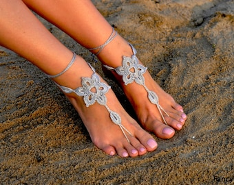 Crochet Barefoot Sandals, Foot jewelry, Bridesmaid accessory, Barefoot sandles, Anklet, Wedding shoes, Beach Wedding, Summer shoes