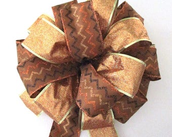 Christmas Bow / Tree Topper Bow / Wreath Bow /  Brown Bow / Copper Bow