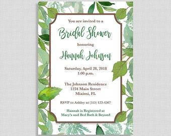Green Bridal Shower Invitation, Greenery Wedding Shower Invite, Leaves, Foliage, DIY PRINTABLE