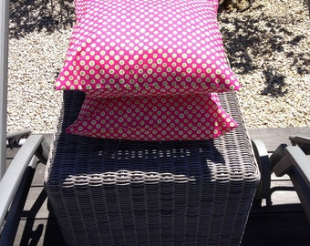 cotton green and fuchsia polka dot pillow cover