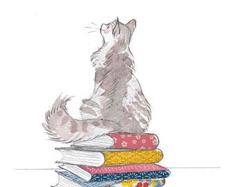 Cat and Books Art Print