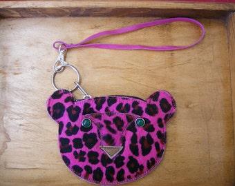 Prrr.... Fuchsia fur Leopard wristlet READY TO SHIP