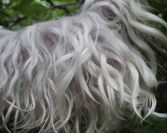Eco natural pearl blond goatskin angora mohair locks perfect doll hair handdyed