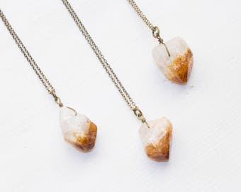 Raw Citrine Necklace, Raw Crystal Necklace, Raw Citrine Nugget Necklace, Citrine Crystal Necklace, Raw Crystal Jewelry, Layering Necklace