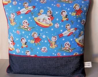 Retro rockets and children pillow cover - blue - 40x40cm