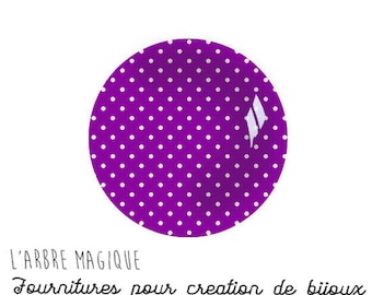 purple with white dots 2 Cabochons fancy glass Ref1-18 mm Theme various treble clef note