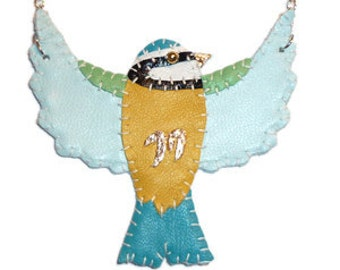 Leather Blue Tit Bird Necklace