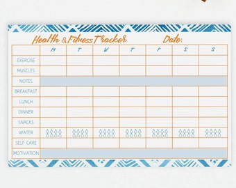 Health and Fitness Tracker Notepad - Travel Size Daily Fitness Planner - Small Fitness Notepad - Fitness Tracker - Daily Health Planner