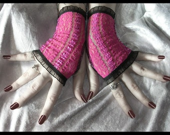 Little Monster Lace Fingerless Gloves - Semi Sheer Hot Pink - Black Ruffle - Gothic Punk Noir Dark Bellydance Vampire Lolita Rave Cyber Goth