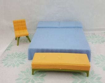 Marx 3 piece Bedroom Imagination  Dollhouse Toy Furniture  Soft Plastic