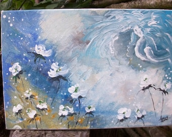 table 1 - on canvas, flowers, fairy, on a very wispy movement