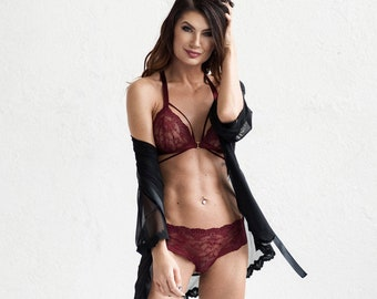 Red wine lace lingerie set SENSE