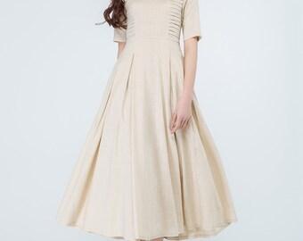 beige linen dress, midi dress, pleated dress, summer dress, flared dress, party dress, wedding dress, linen dress women, handmade dress 1695