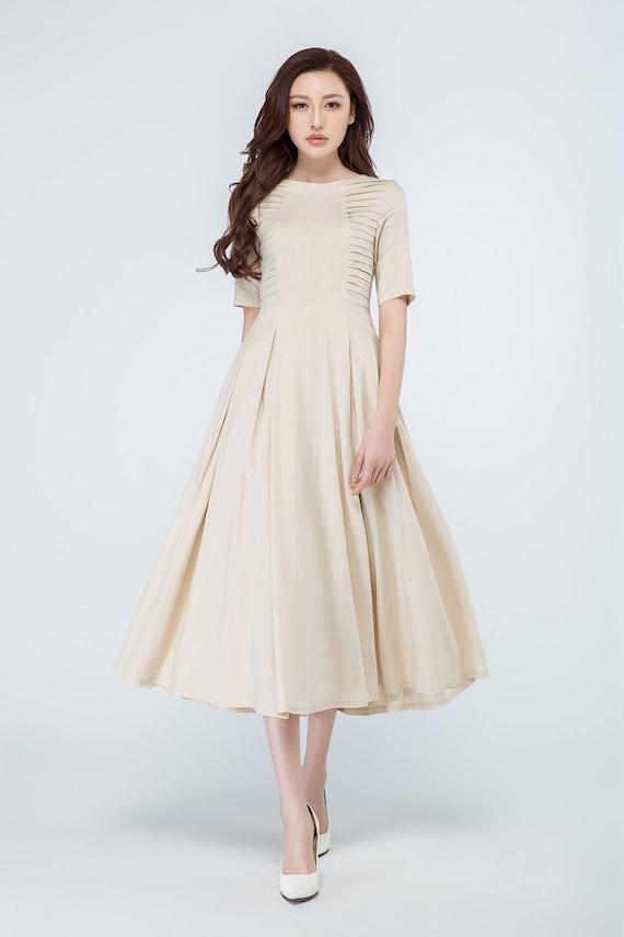 beige dress maxi dress summer dress formal dress flared